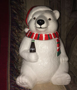 Coke Coca Cola Polar Bear Cookie Jar & Throw Rug 4 ft x 3.5 ft