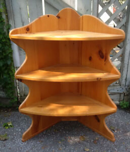 Canadiana Style Pine Corner Shelf Unit Solid Wood - Beaches Area