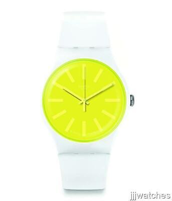 New Swiss Swatch Originals LEMONEON White Silicone Watch 41mm SUOW165 (Yellow Swatch)