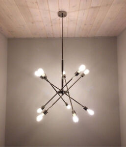 NEW IN THE BOX - 10-Bulb Sputnik Polished Nickel Chandelier
