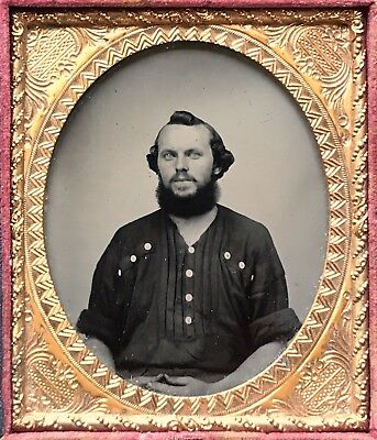 COMPELLING 1/6 PLATE AMBROTYPE - OCCUPATIONAL? CONFEDERATE SOLDIER? TRULY SUPERB