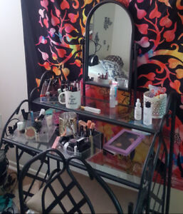 Black Wrought Iron and Glass two level top Vanity