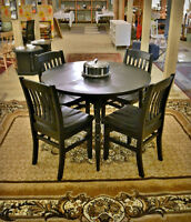 Black Table with Extension Leaf