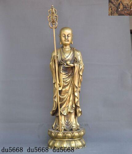 "26""Tibetan Buddhism bronze Jizo Ksitigarbha Boddhisattva tang monk Buddha statue"