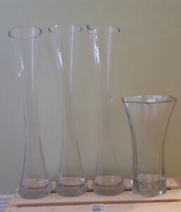 """3 x 23"""" flared wide mouth transparent glass flower vases"""