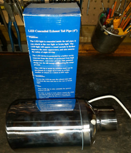 Exhaust tip, stainless steel with blue led's