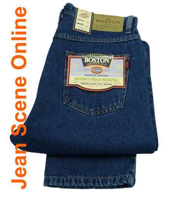 New Men's Boston Regular Fit Jeans Straight Leg Stonewash Blue Denim All Sizes