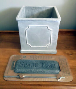 "Fiber Clay Square Medallion Planter & ""Idea Garden"" Stone"