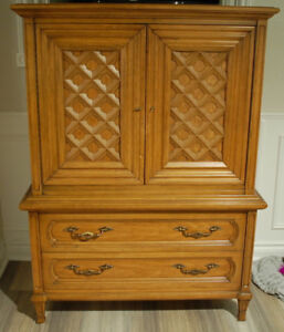 Antique Victorian Solid Wood Wardrobe Dresser w/ Swing Doors