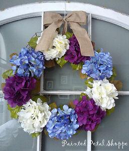 Periwinkle/Plum/Ivory Hydrangea Wreath/Easter/ Wedding Wreath