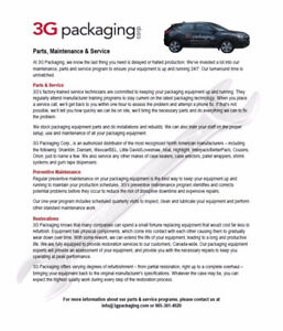 Parts, Service & Maintenance Programs for Packaging Equipment