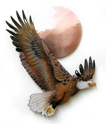 Bald Eagle w/ Copper Sun Metal Bird Wall Art Sculpture- Bovano of Cheshire -