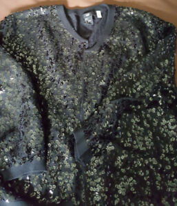 H&M grey sweater with tonal sequin embellishment