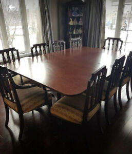 Solid Walnut Table 8 arm chairs and 2 arm chairs
