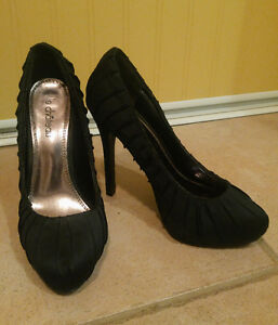 Le Chateau Perfect Black Satin High Heels