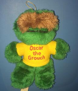 """Vintage 80's OSCAR THE GROUCH 8"""" PLUSH DOLL, Sesame Street"""