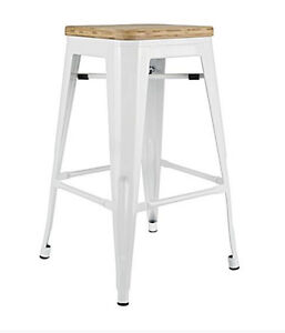 RESTAURANT INDUSTRIAL WOODEN SEAT BAR STOOL DINING CHAIR