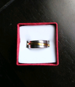 Two Tone Stainless Steel Ring, Size 7