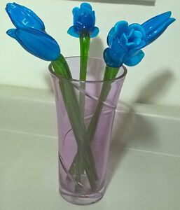 Blue Glass Flowers Bouquet with Pink Vase
