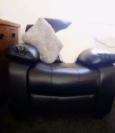 Immaculate leather sofa and two chairs