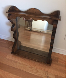 Large wooden rustic mirror
