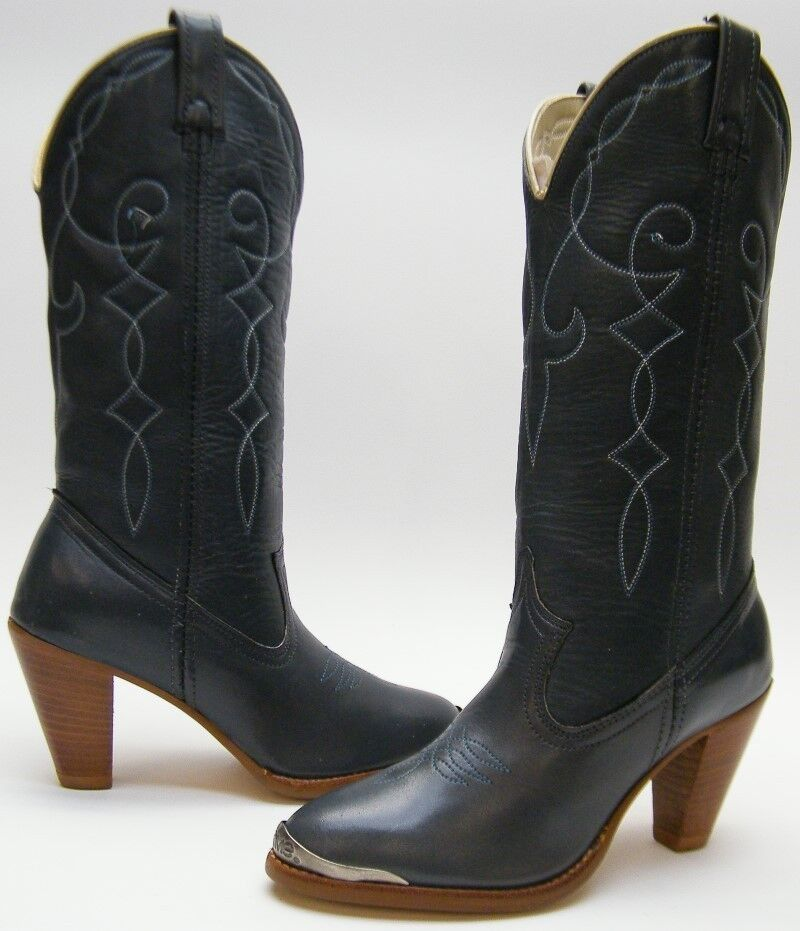e14c96959ce Details about WOMENS NEW VINTAGE ACME GREY GRAY STACKED HIGH HEEL COWBOY  WESTERN BOOTS SZ 5 B