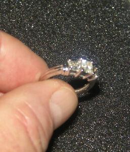 3 STONE DIAMOND ENGAGEMENT RING 10K WHITE GOLD Was $1999 WOW!!!