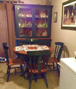 REDUCED!!! Maple Buffet Hutch with MatchingTable and Four Chairs
