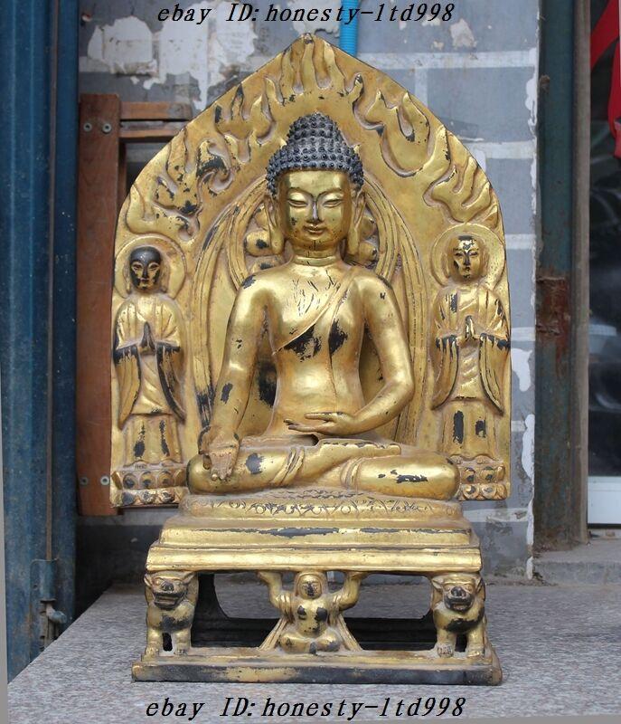 Old Tibet Buddhism Bronze 24k Gold Gilt Sakyamuni Shakyamuni Rulai Buddha Statue