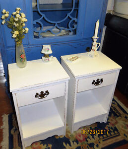 Charming Shabby Chic Vintage White Night / End Tables