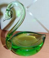 Light green art glass swan