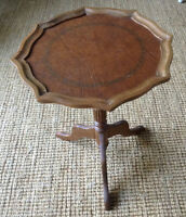 Small Pie Crust Leather Top Table