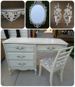 Vintage Baronet French Provincial Desk / Vanity & Chair