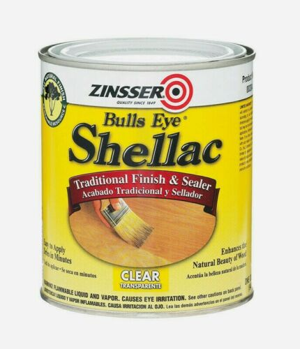 Zinsser BULLS EYE Shellac 1 qt CLEAR Traditional Finish & Sealer Easy Apply 304H