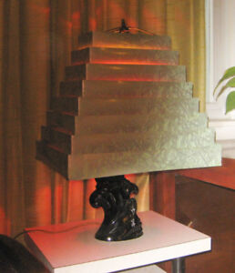 vintage table lamp with metal shade