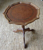 Small Pie Crust Leather-Top Table