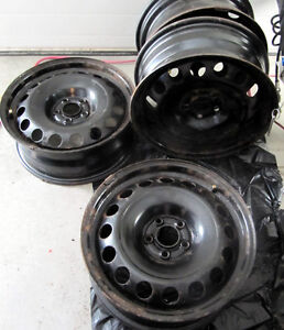 "FOUR USED BLACK 16"" RIMS FOR SALE  5 X 100 Bolt PATTERN"