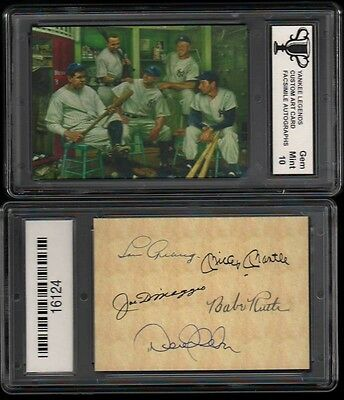 Yankee Legends Facs Autograph Art Card Graded 10 Gem Mickey Mantle Babe Ruth  T