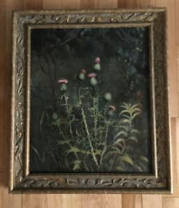 E. Vingris Latvian oil painting with hand carved frame