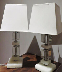 Vintage Marble and Glass Table Lamps