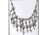 NEW Silver skull beads crucifix link chain gothic cascade statement necklace