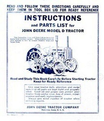 John Deere D Operators Instruction Parts Manual Jd
