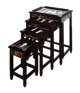 LF702: Oriental Set of 4 PCS. Black Lacquer Nested Tables Set, Chinese Furniture