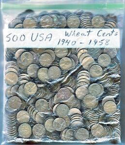 Bag of 500 United States wheat design pennies 1940-1958 Windsor Region Ontario image 1