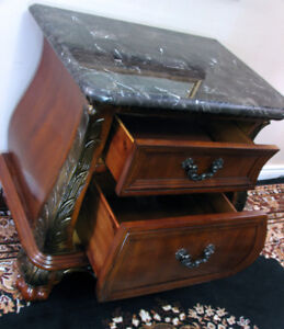 SPECTACULAR Marble Topped French Hall Cabinet SEE VIDEO