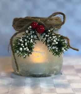 Holiday Snowy Jar with flameless Candle