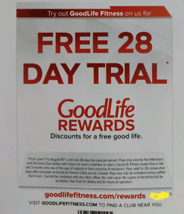 GoodLife fitness 28 days unlimited access
