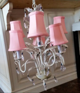 Metal Chandelier with shades