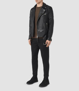 All Saints Boyson Leather Biker Moto Jacket XS S diesel jeans