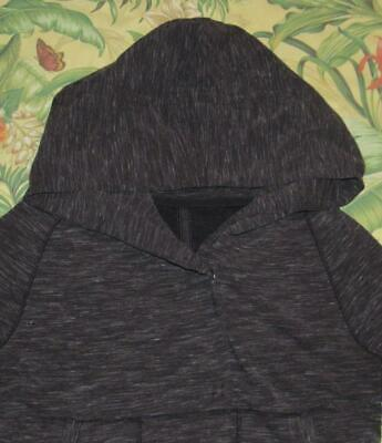 Womens LULULEMON Marled Charcoal Grey Snap Front Heavy Hooded Cardigan Sweater 6